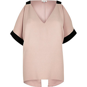 Light pink contrast cold shoulder blouse