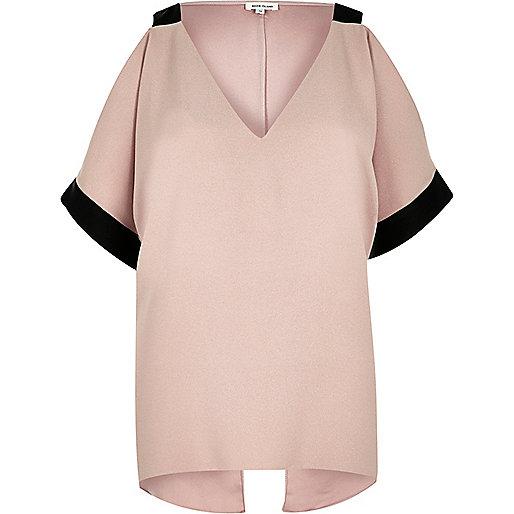 Light pink contrast cold shoulder blouse