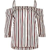 Pink stripe placket cold shoulder top