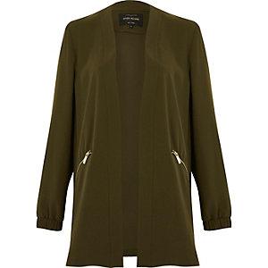 Khaki green open lightweight jacket