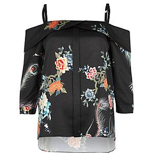Black print placket cold shoulder top