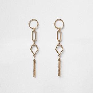 Gold tone geo shape tassel earrings