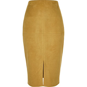 Dark yellow faux suede pencil skirt