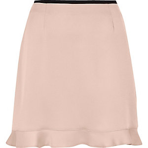 Nude frill hem mini skirt