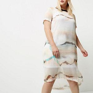 Plus white print overlay dress