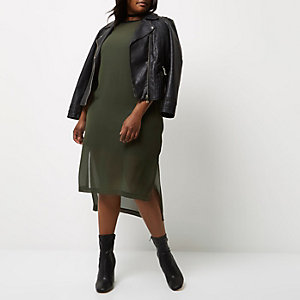 Plus khaki green mesh overlay dress