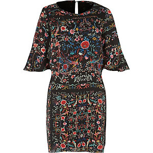 Black bird print swing dress