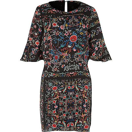 Black bird print swing dress