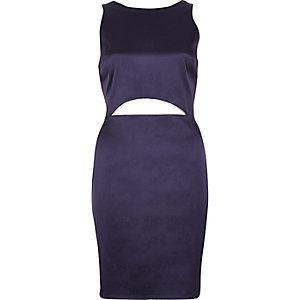 Dark purple cut-out mini dress