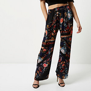 Petite black scarf print soft trousers