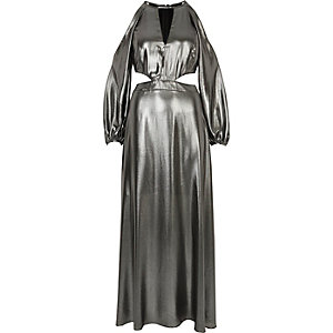 Metallic silver cold shoulder maxi dress