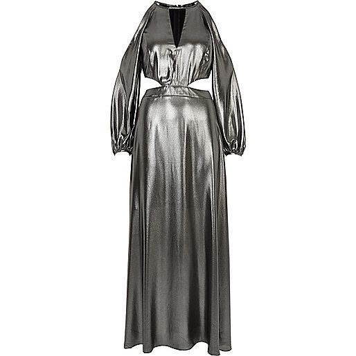 Metallic silver cold shoulder maxi dress