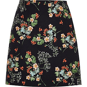 Black floral print a-line mini skirt