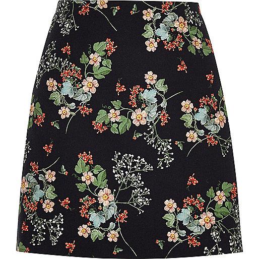 Schwarzer A-Linien-Minirock mit Blumenmuster