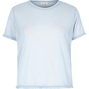 Light blue mesh frill trim T-shirt