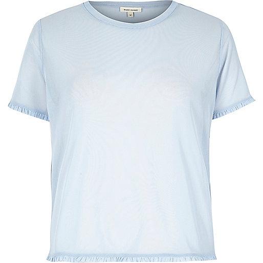 T-shirt bleu clair en tulle avec bordure des manches volantée