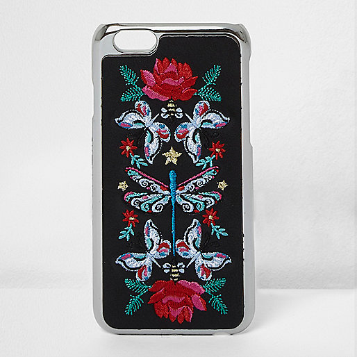 Black embroidered iPhone 6 case
