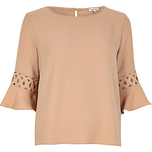 Nude cord insert trumpet sleeve top