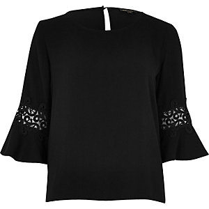 Black crochet trim trumpet sleeve top