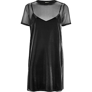 Silver metallic mesh T-shirt dress