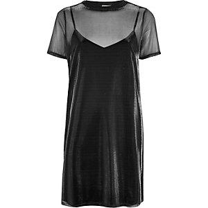 Silver metallic mesh 2 in 1 dress