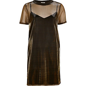 Bronze metallic mesh T-shirt dress