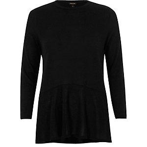 Black knit soft peplum top