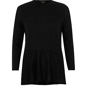 Black knit soft peplum top