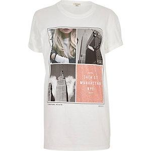 T-shirt boyfriend blanc clouté à imprimé