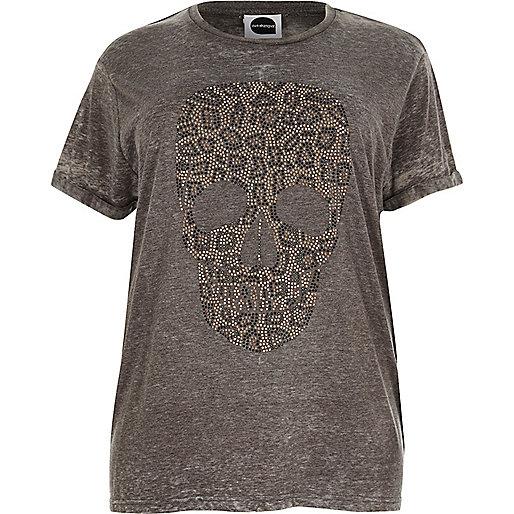 T-shirt boyfriend Plus imprimé tête de mort motif léopard gris