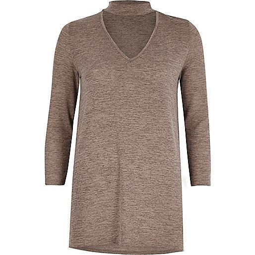 Light brown knit choker top