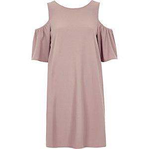 Pink frill cold shoulder swing dress
