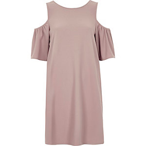 Pink frill cold shoulder swing dress