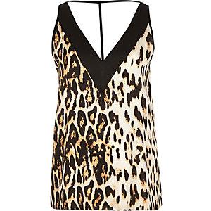 Brown leopard print T-bar cami top