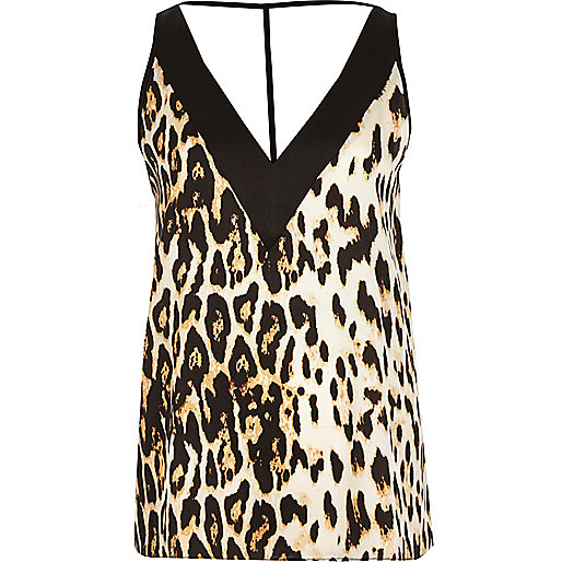 Brown leopard print T-bar cami top