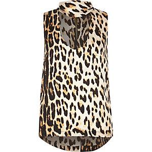 Brown leopard print choker top