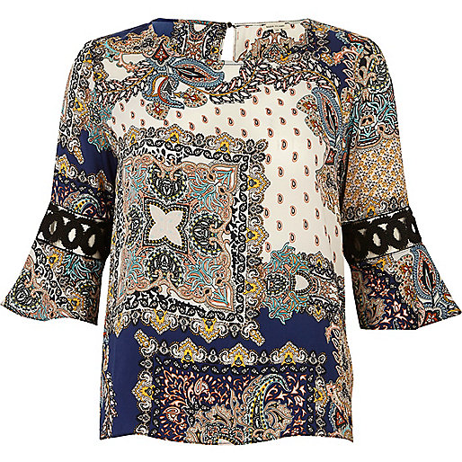 Blue scarf print cord trumpet sleeve top