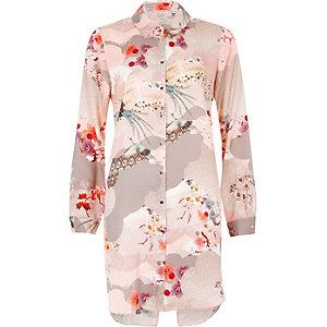 Pink rose print longline shirt