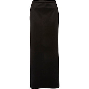 Black velvet side split maxi skirt