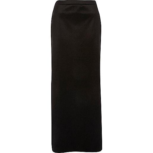 Jupe longue en velours noire fendue sur le côté