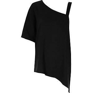 Black asymmetric one shoulder top