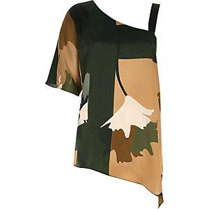 Khaki print asymmetric one shoulder top