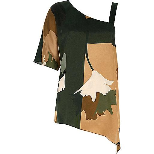 Khaki print asymmetric one shoulder top