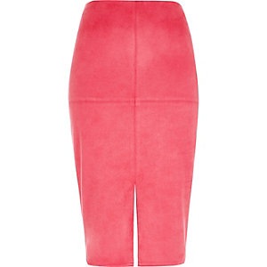 Bright pink faux suede pencil skirt
