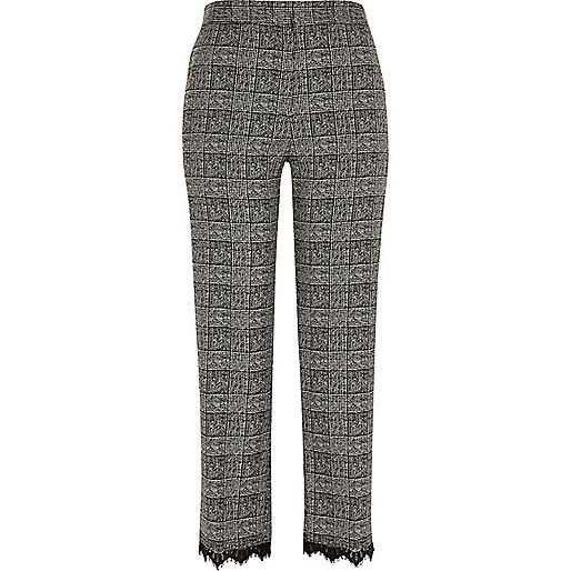Grey check lace trim trousers