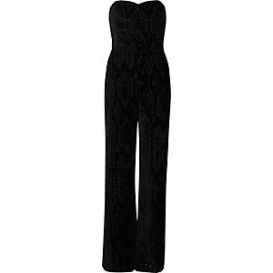 Black velvet snake print bandeau jumpsuit