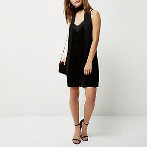 Petite black burnout velvet slip dress