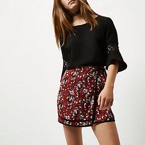 Red print wrap mini skirt