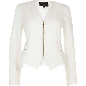 Weiße Jacke mit Schößchen