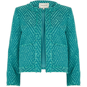 Green zig zag fringe trophy jacket